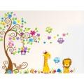 Sticker decorativ camera copii - Copac cu girafa si leu