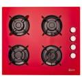 Plita incorporabila LDK YD640RE40K, Gaz, 4 arzatoare, Aprindere electrica, Siguranta, 60 cm, Rosu